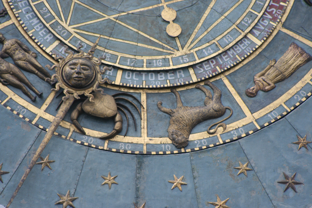 Detail of the clock on the Torre del Orologio, Padua. Photograph by Paul Shaw, 2013.