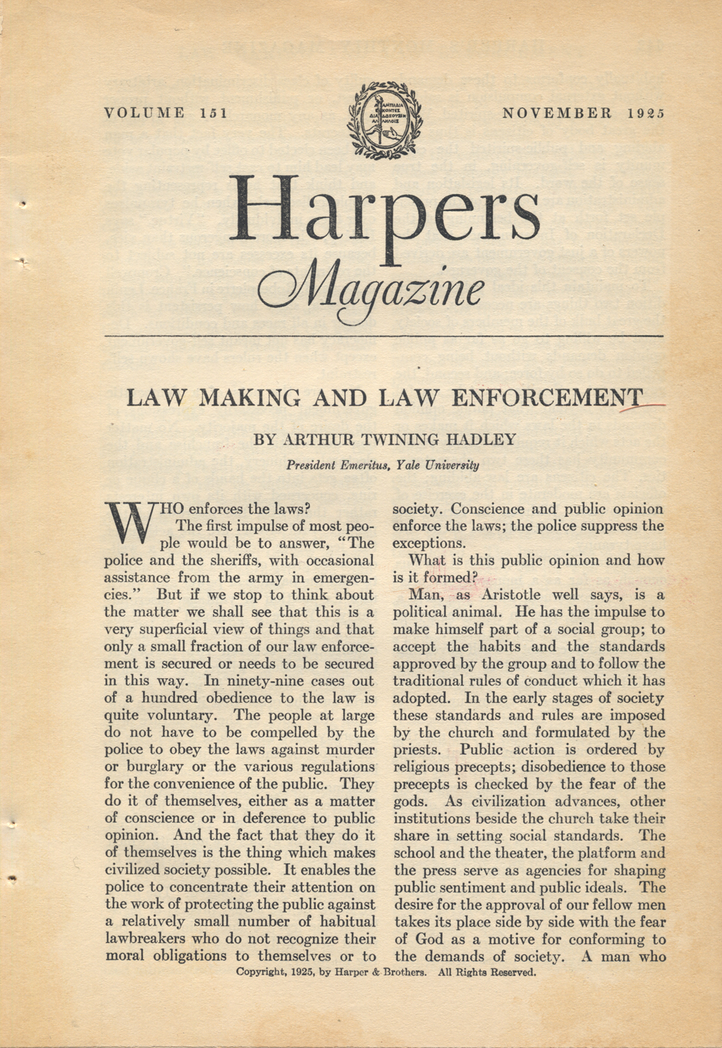 Opening page of Harpers Magazine (September 1925). Typography by W.A. Dwiggins.