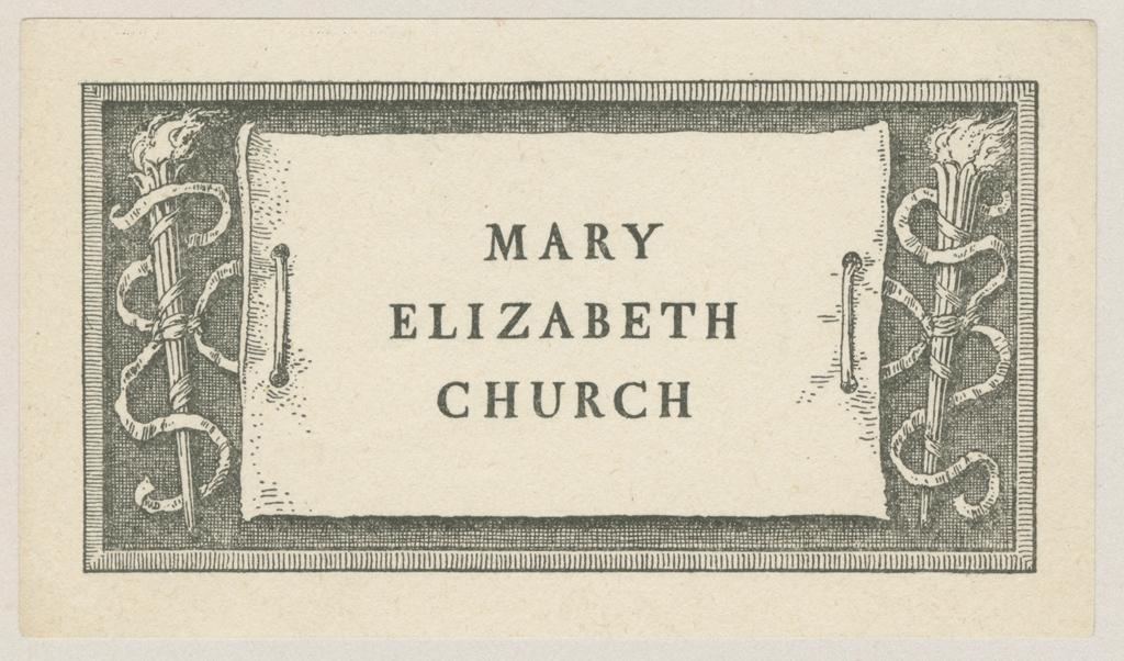 Bookplate for Mary Elizabeth Church (1909). Design by W.A. Dwiggins; printed by The Merrymount Press.
