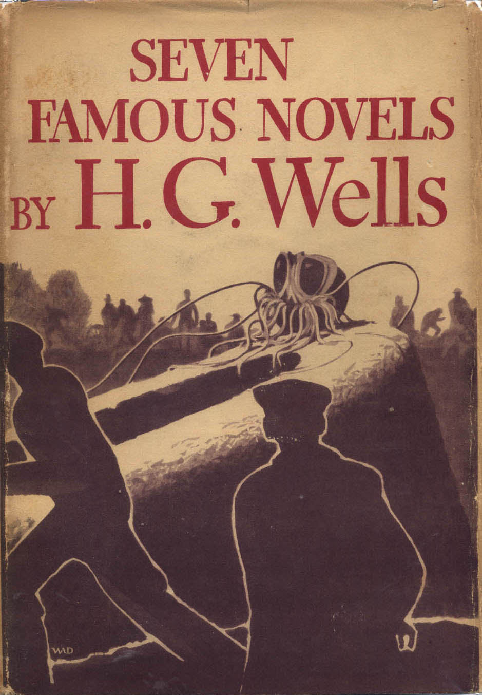 Jacket for Seven Famous Novels by H.G. Wells (New York: Alfred A. Knopf, Inc., 1934). Design, illustration and lettering by W.A. Dwiggins.