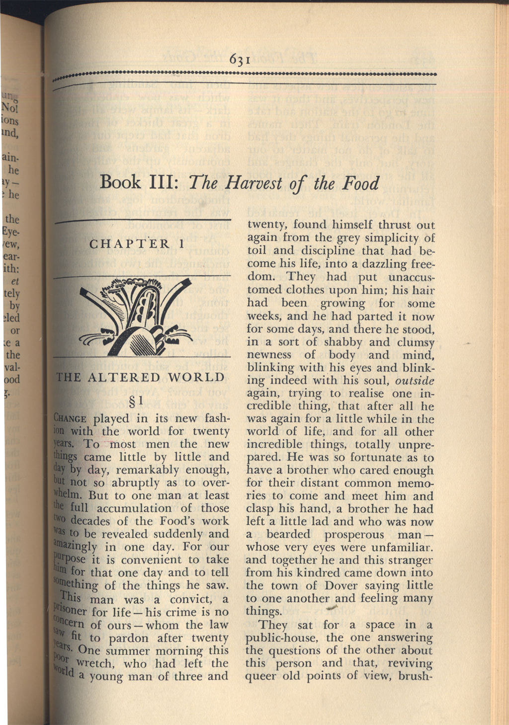 The opening of Book III: The Harvest of the Food, p. 631 from Seven Famous Novels by H.G. Wells (New York: Alfred A. Knopf, 1934). Typography and stencil ornament designed by W.A. Dwiggins.