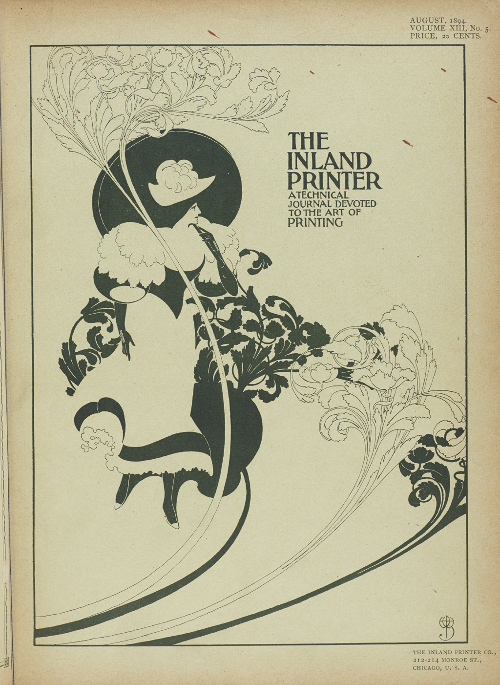 Cover, The Inland Printer (August 1894). Design by Will Bradley.