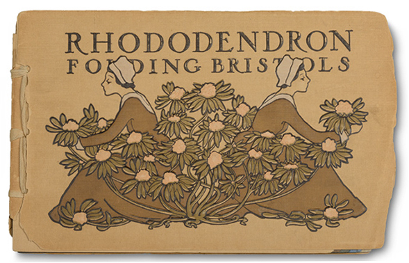 Rhododendron Folding Bristols sample book. Cover design probably by James Hall.