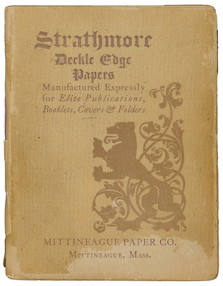 Strathmore Deckle Edge Papers sample book cover (1897). Design by Will Bradley; printed at The Wayside Press.