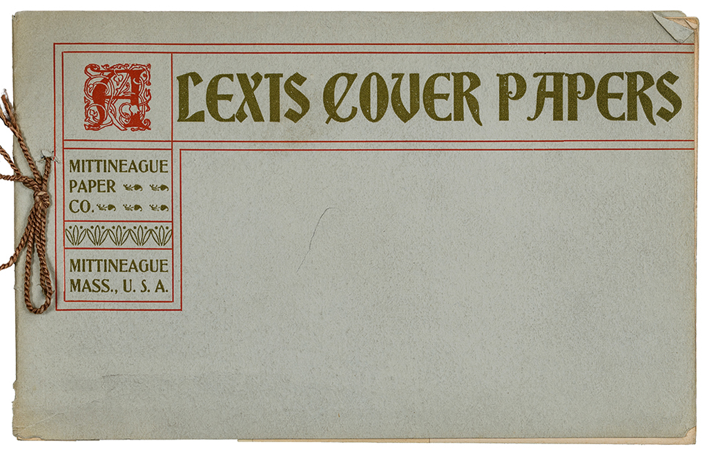 Alexis Cover Papers sample book from Mittineague Paper Co. (1899?). Designer unknown.
