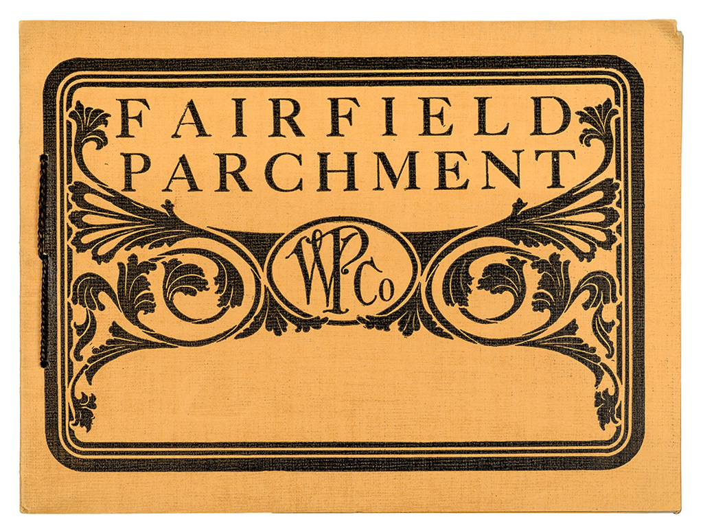Fairfield Parchment sample book from Woronoco Paper Co. (before 1904). Designer unknown.
