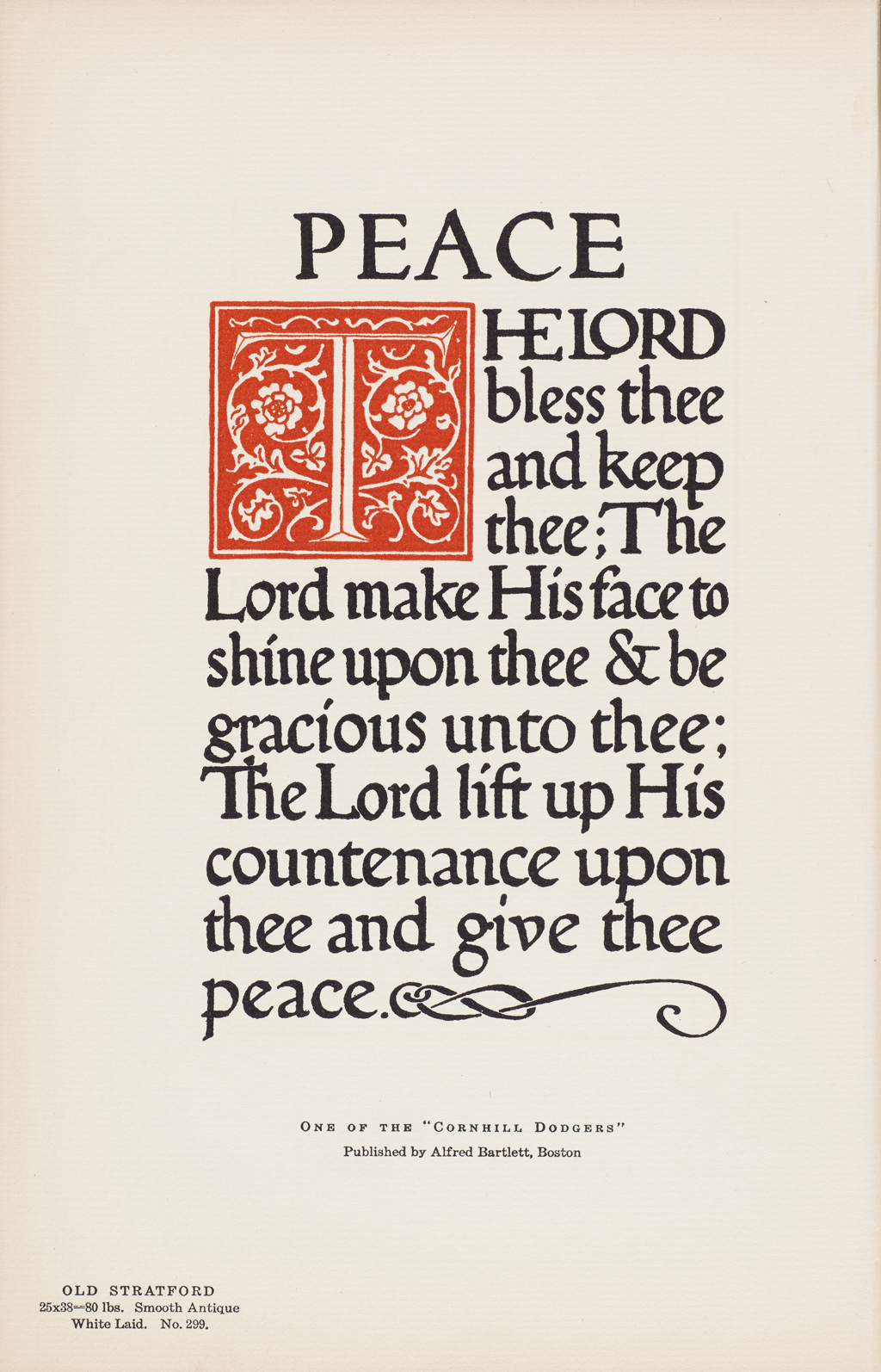 """Peace,"" a Cornhill dodger from The Strathmore Quality Book of Deckle Edge Papers (Baltimore: The Munder-Thomsen Press, 1906). Calligraphy and design by W.A. Dwiggins."