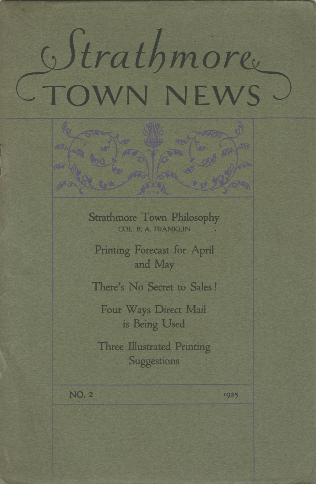 Cover of Strathmore Town News no. 2 (1925). Design by Guido and Lawrence Rosa.