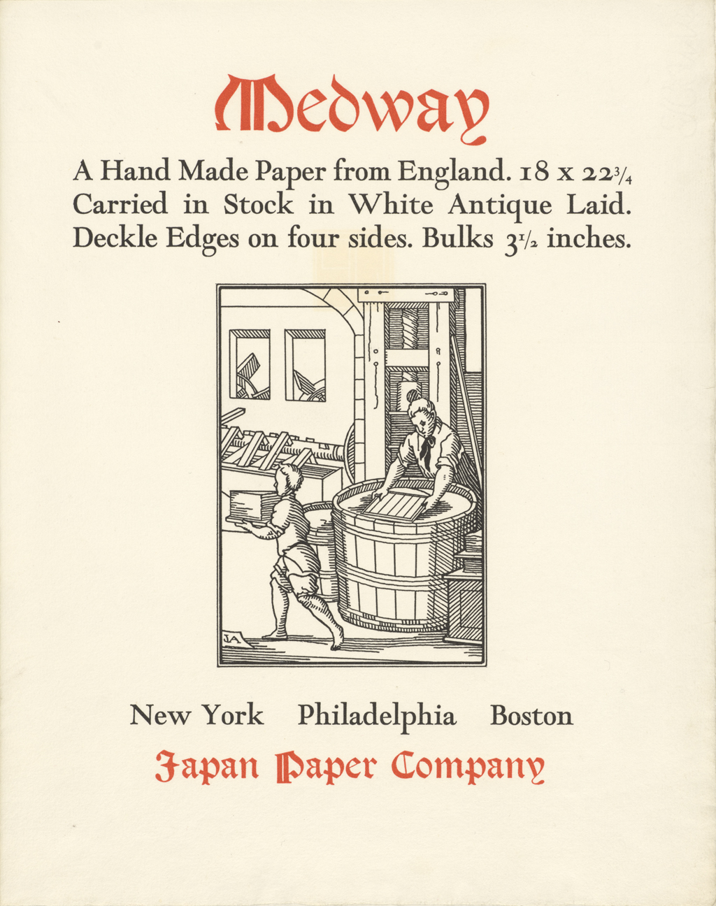 Medway (Japan Paper Company). Promotion designed and printed by Carl Purington Rollins; lettering and illustration by W.A. Dwiggins.