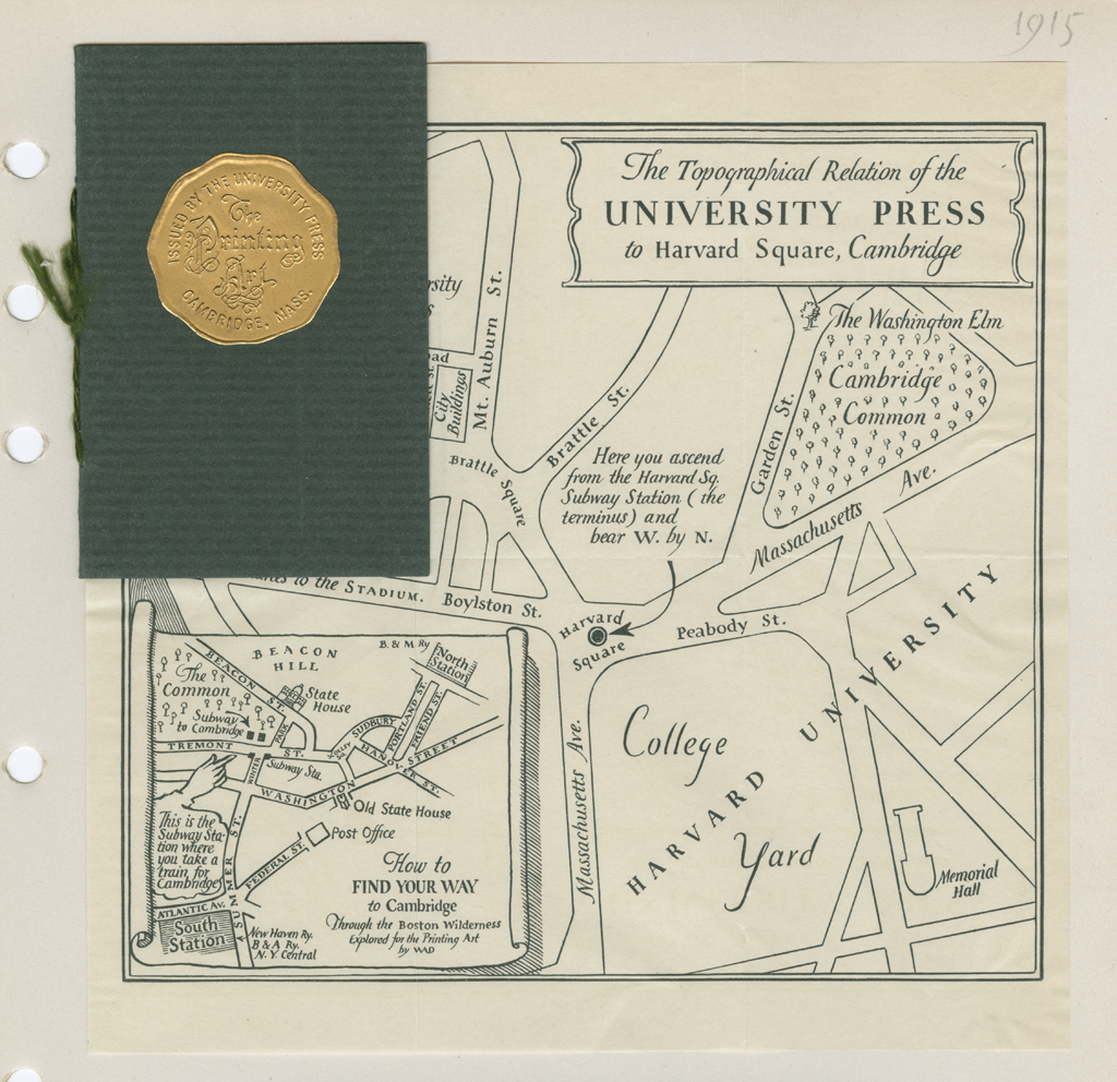 """A Topographical Map of The University Press in Relation to Harvard Square"" by W.A. Dwiggins for The Printing Art (1915)."
