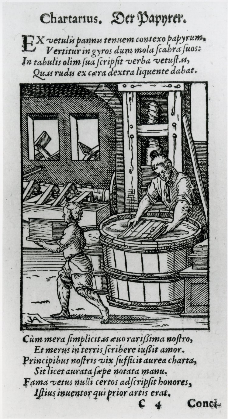 The Papermaker from the book of trades by Jost Amman.