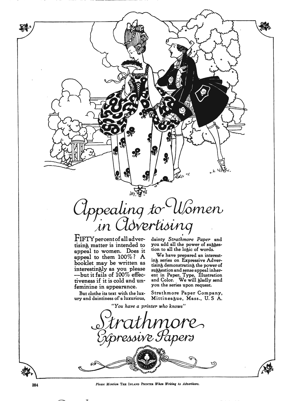 """Appealing to Women in Advertising"" advertisement in The Inland Printer vol. 66, no. 5 (January 1921)."