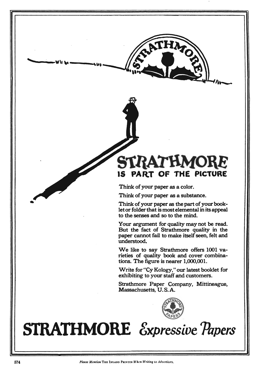 """Strathmore Is Part of the Picture"" advertisement in The Inland Printer vol. 68, no. 4 (January 1922)."