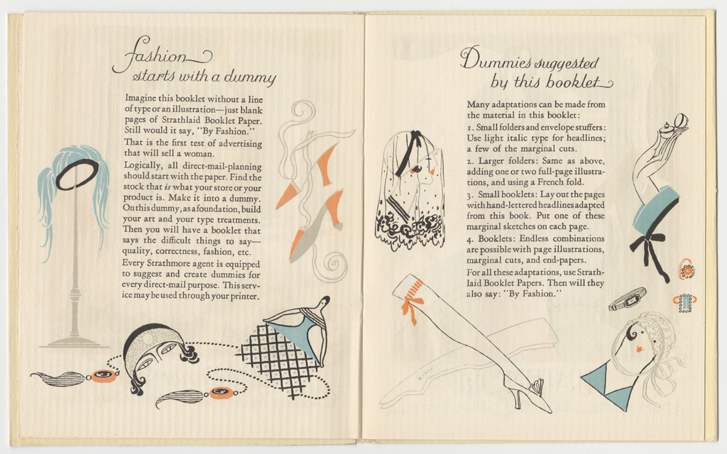 Spread from Originatons by Fashion (Strathmore Paper Co., 1923). Illustrations by Helen Dryden.