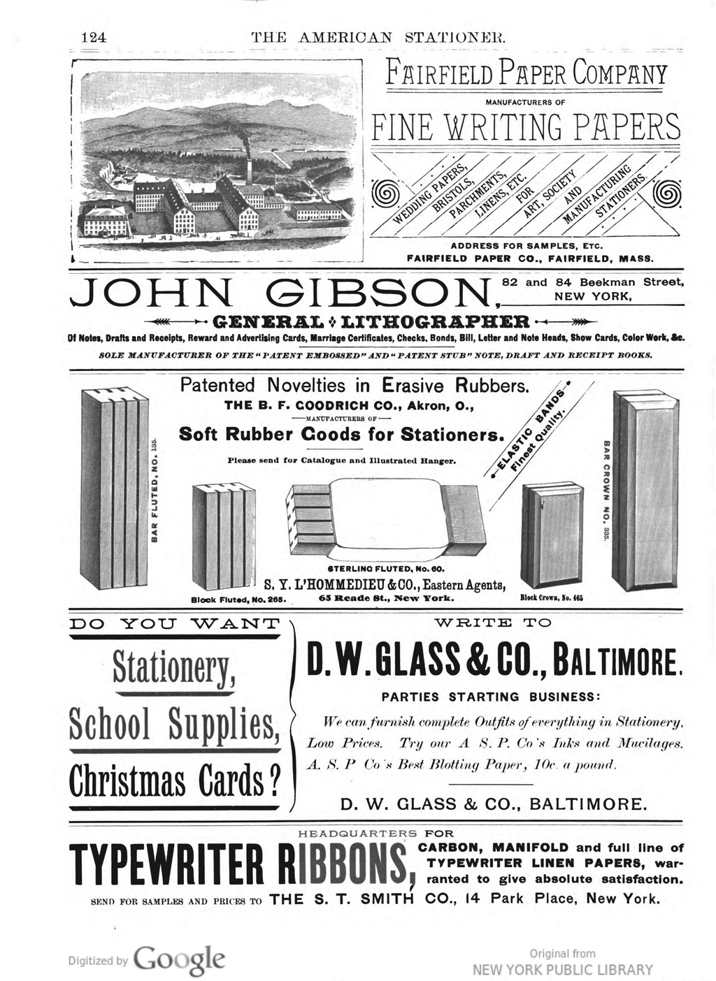 Advertisement for the Fairfield Paper Company in The American Stationer (1887).