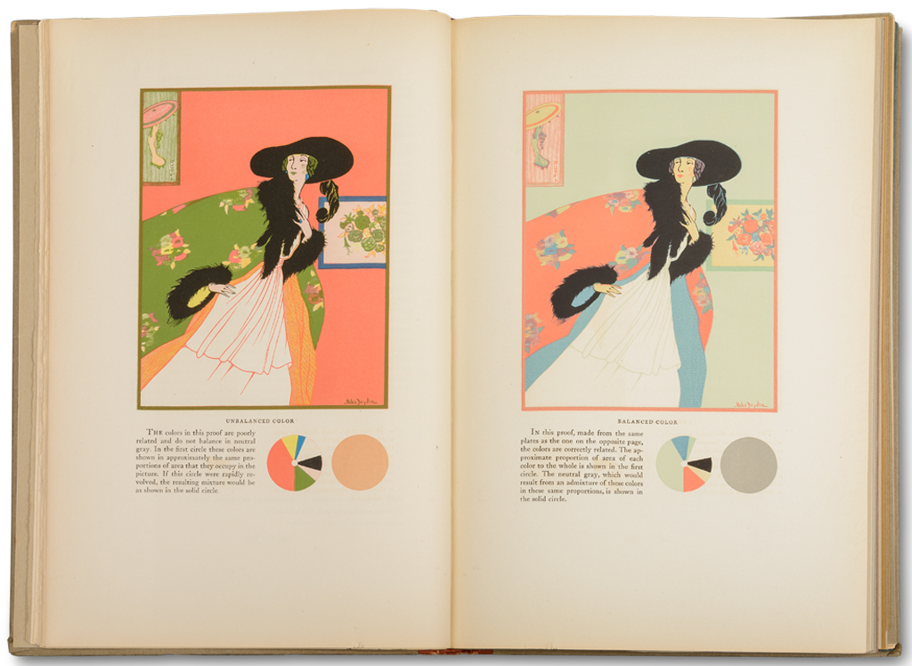Spread from A Grammar of Color by A.H. Munsell (Mittineague: The Strathmore Paper Company, 1921). Illustration by Helen Dryden. Photograph by Vincent Trinacria.