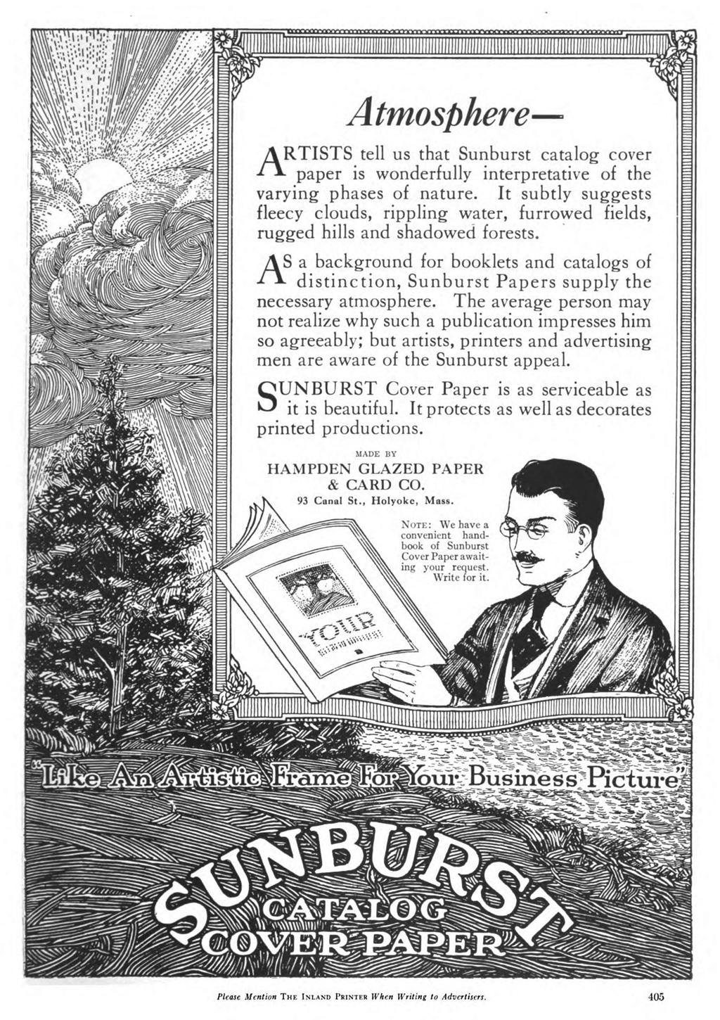 """Atmosphere"" advertisement  for Sunburst Cover Paper by Hampden Glazed Paper & Card Co. in The Inland Printer vol. 67, no. 4 (June 1921)."