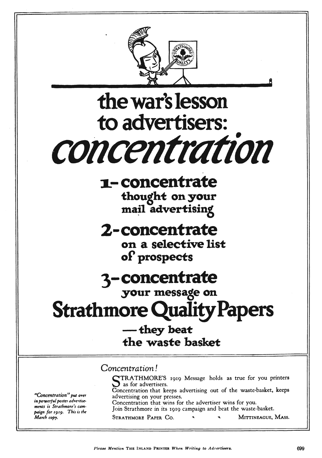 """""""The war's lesson to advertisers…"""" advertisement for Strathmore Quality Papers in The Inland Printer vol. 62, no. 6 (March 1919)."""