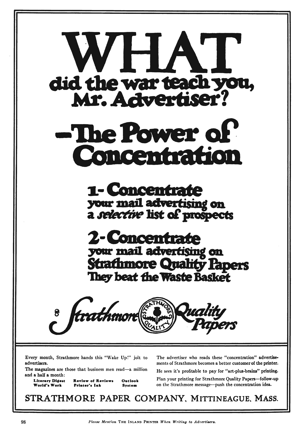 """'WHAT did the war teach you, Mr. Advertiser?"""" advertisement for Strathmore Quality Papers in The Inland Printer vol. 63, no. 1 (April 1919). Design by Fred G. Cooper."""