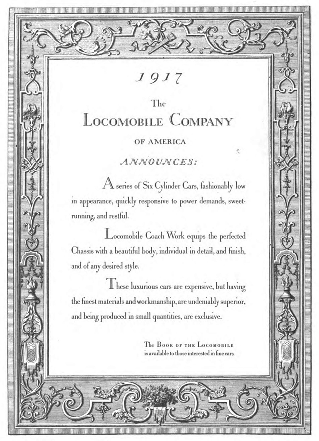 Locomobile advertisement (1917). Designed by T.M. Cleland with lettering by Bruce Rogers. Reproduced in The Printing Art vol. XXVII, no. 6 (August 1916), p. 550.