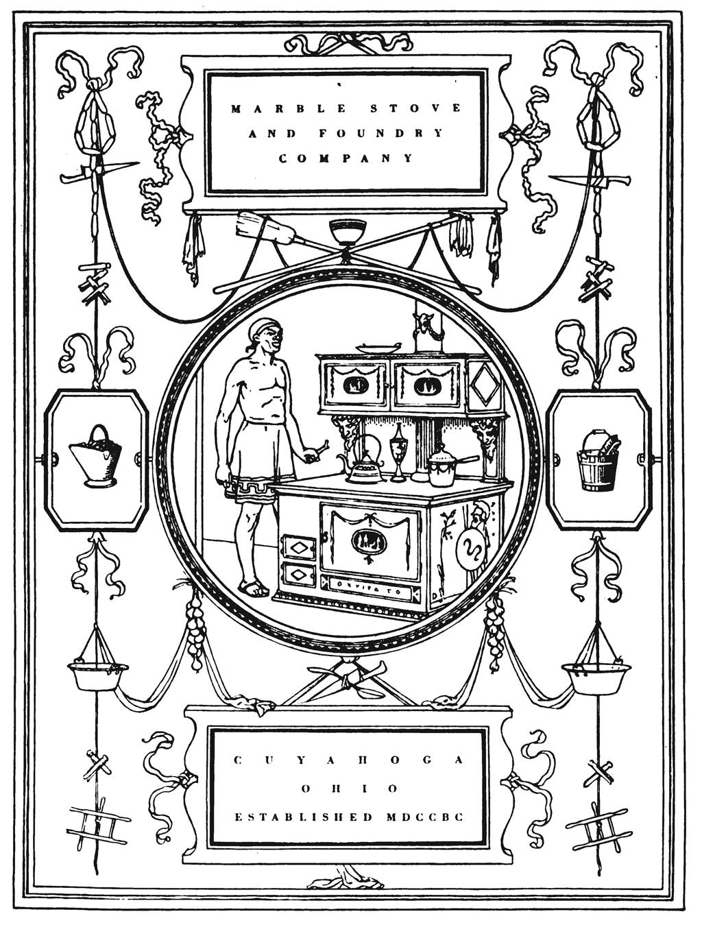"Marble Stove and Foundry Company advertisement attributed to Thomas Maitland Cleland. From ""Drawings that Sell Goods"" by Hermann Püterschein in The Printing Art vol. XXVIII, no. 1 (September 1916). Design by W.A. Dwiggins."
