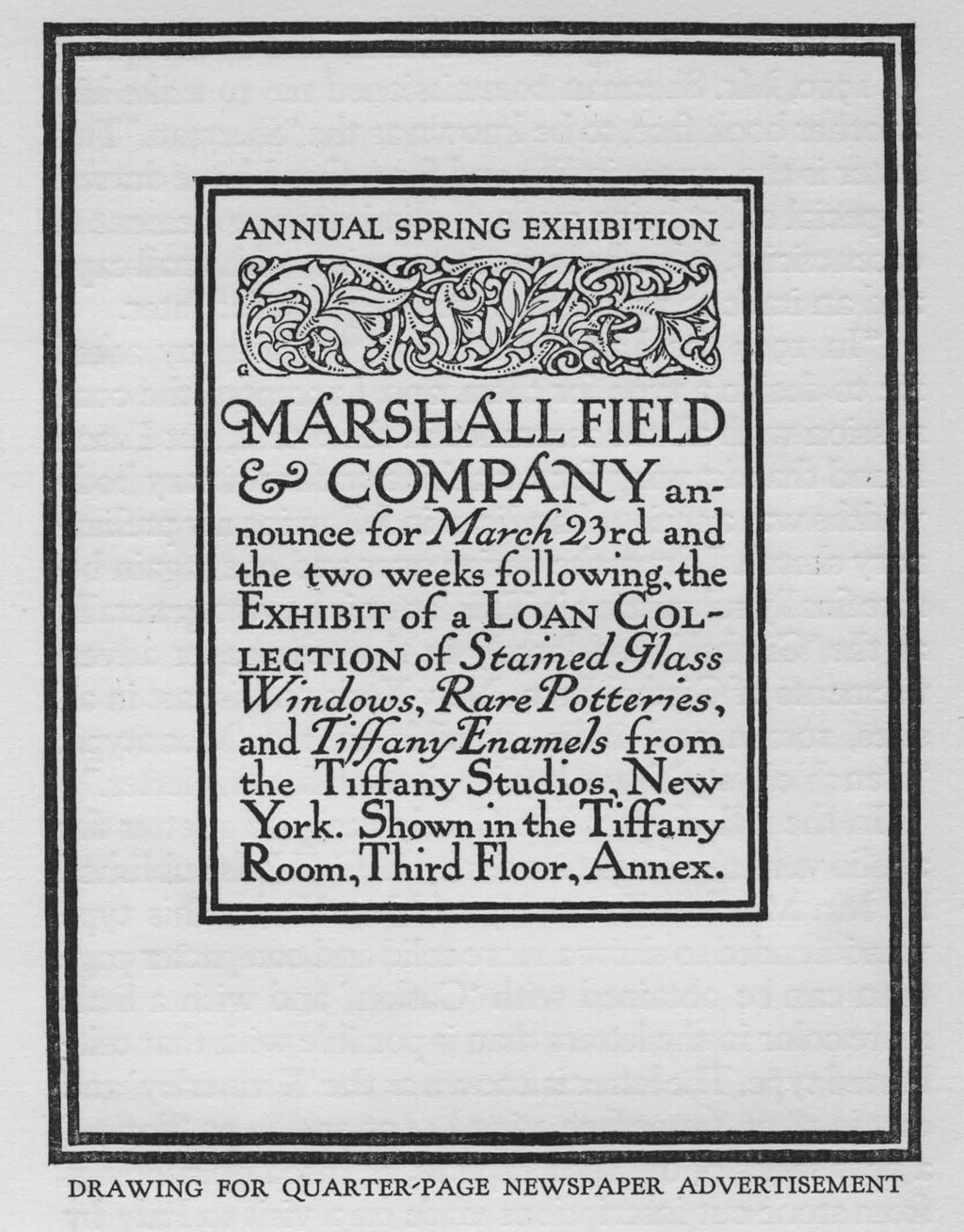 Quarter-page advertisement for Marshall Field & Co. Reproduced in Temple Scott. Design by F.W. Goudy.