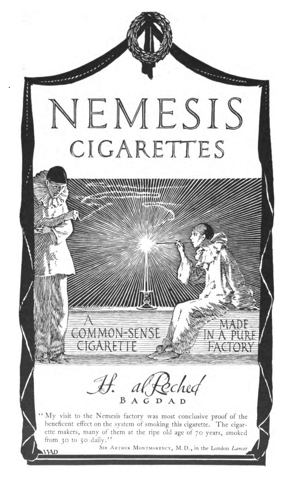"Nemesis Cigarettes advertisement by W.A. Dwiggins. From ""Drawings that Sell Goods"" by Hermann Püterschein in The Printing Art vol. XXVIII, no. 1 (September 1916)."