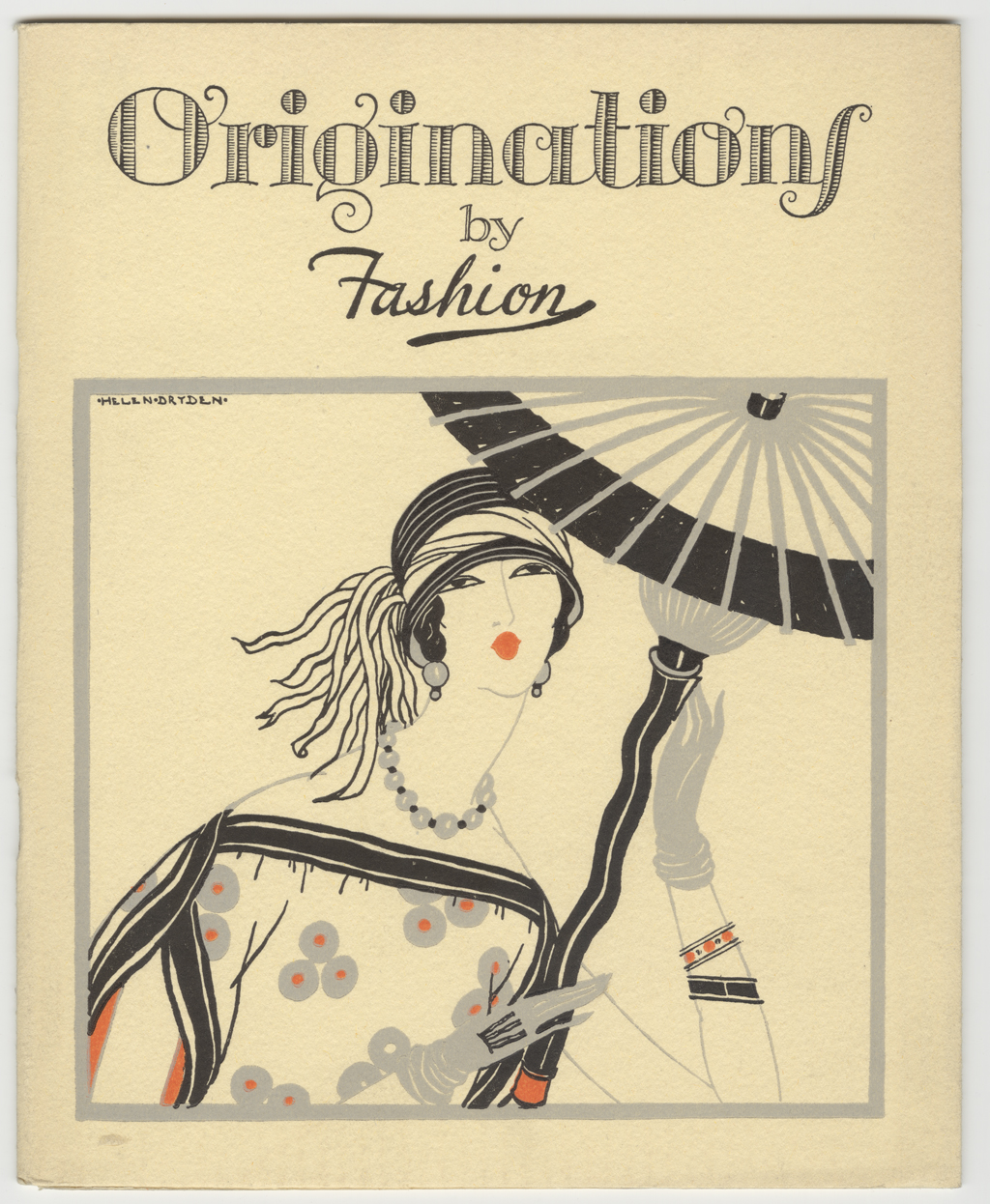 Cover design for Originations by Fashion (Strathmore Paper Co., 1923). Illustration by Helen Dryden; lettering by Gustav Jensen.