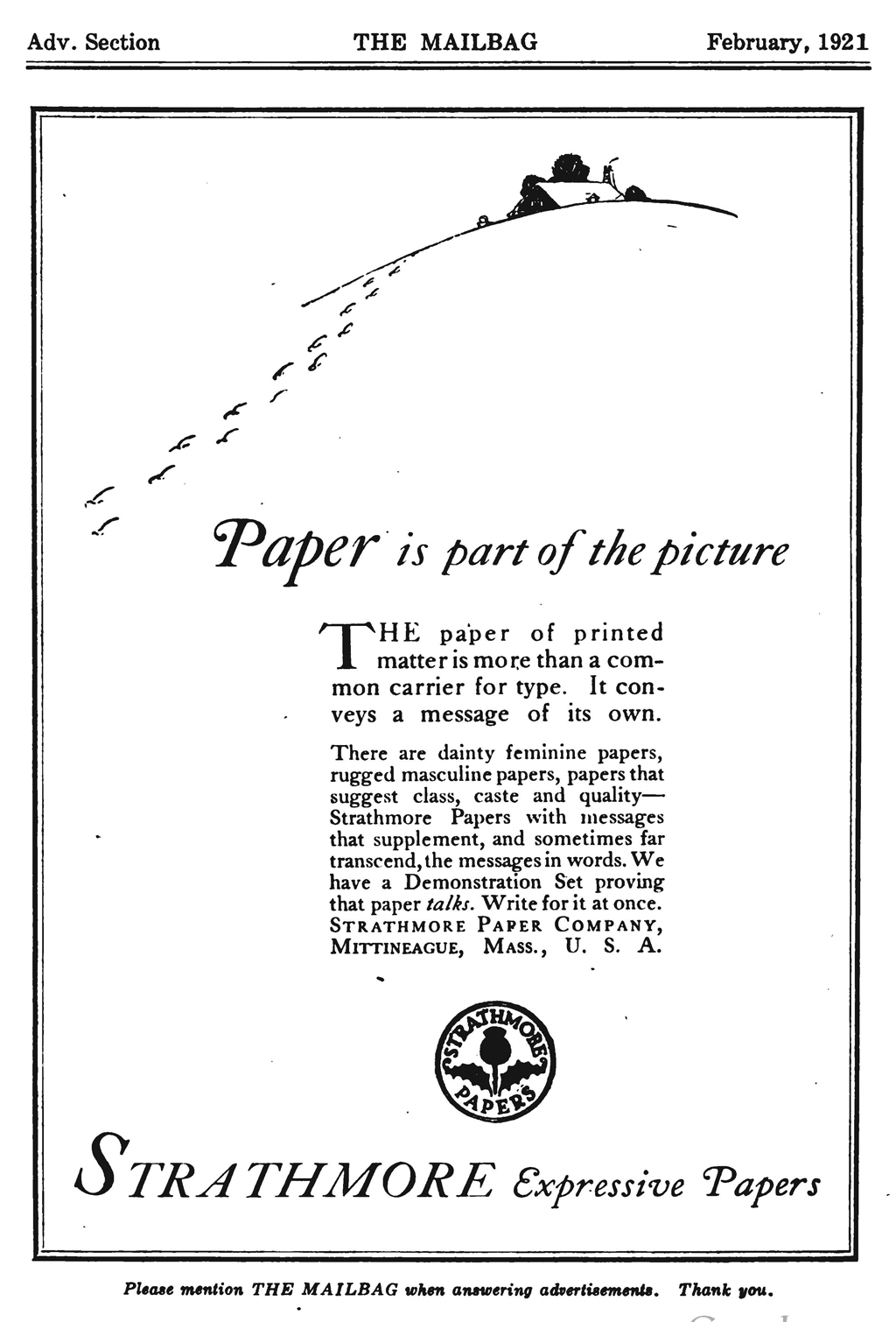 """Paper is part of the Picture"" advertisement in The Mailbag (February 1921)."
