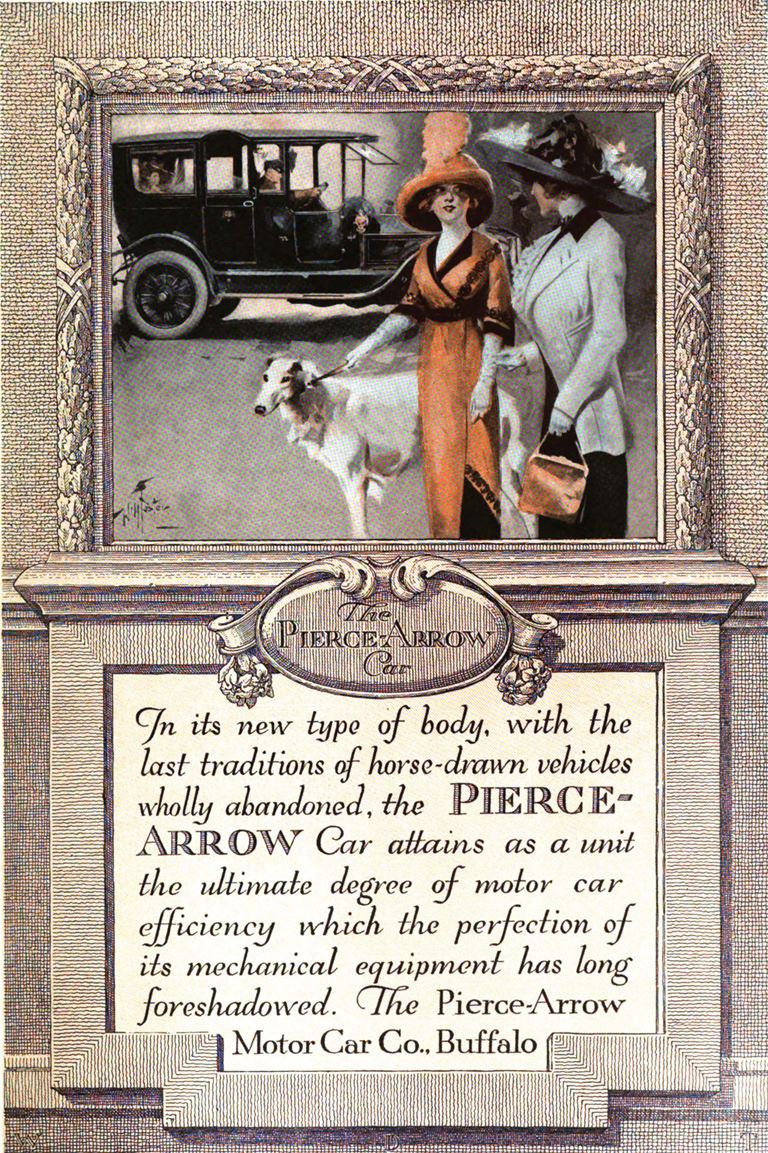 Advertisement for The Pierce-Arrow Motor Car Company by Walter Dorwin Teague. (Painting by Hollister.) Taken from The Printing Art vol. XXI, no. 1 (March 1913).