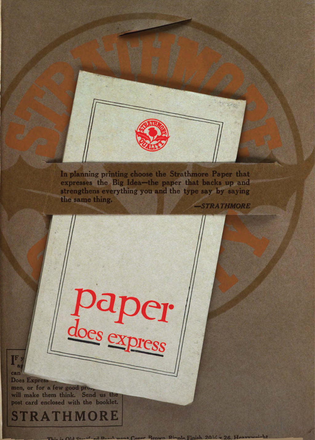 Paper does express insert from Strathmore Paper Co. in The Printing Art Suggestion Book (1916).