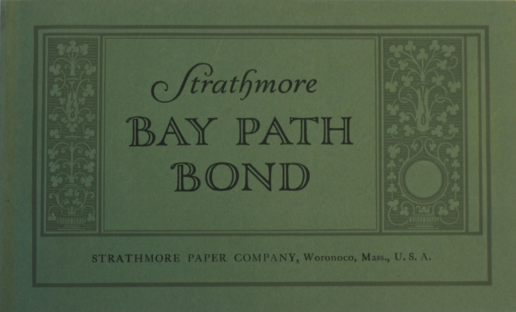 Strathmore Bay Path Bond sample book (Strathmore Paper Co., c.1922). Designer unknown.