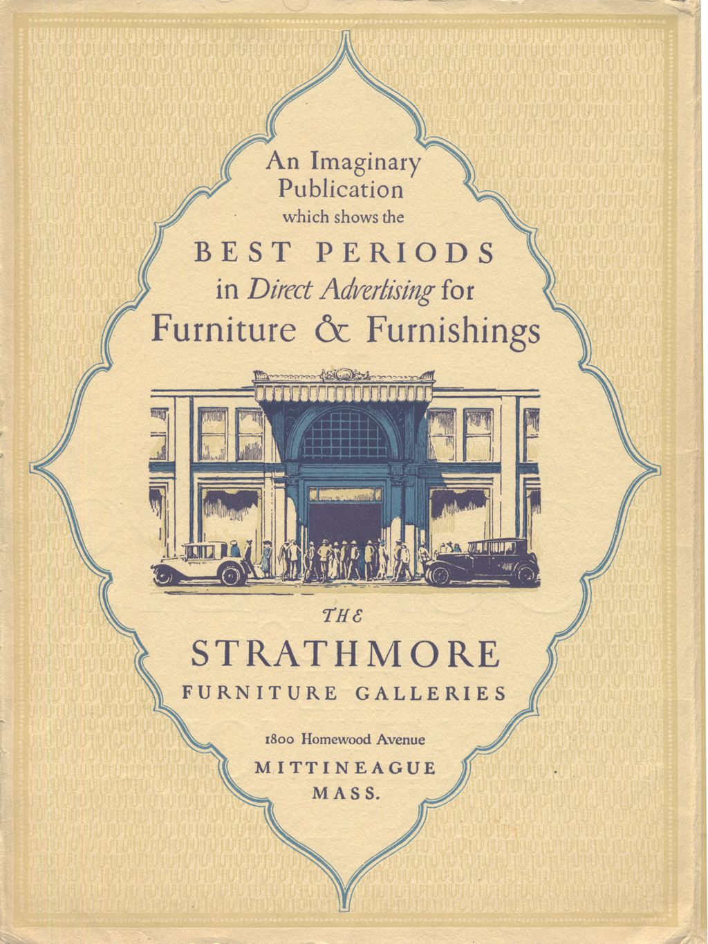 Interior page from Journeys through the Strathmore Furniture Galleries (Strathmore Paper Co., 1923). Design by W.A. Dwiggins.