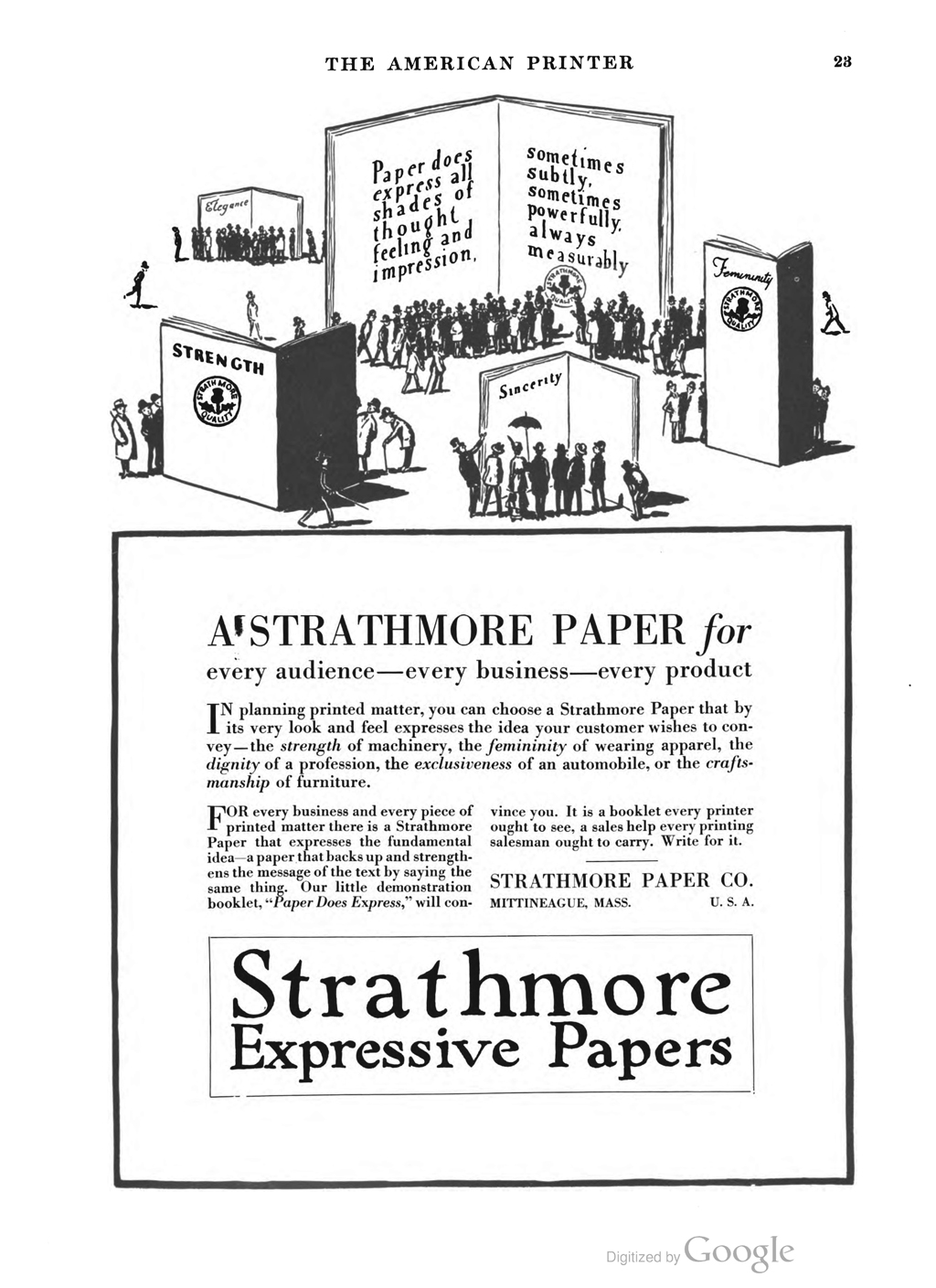 """Strathmore Expressive Papers"" advertisement in The American Printer vol. 62, no. 5 (March 5, 1916)."