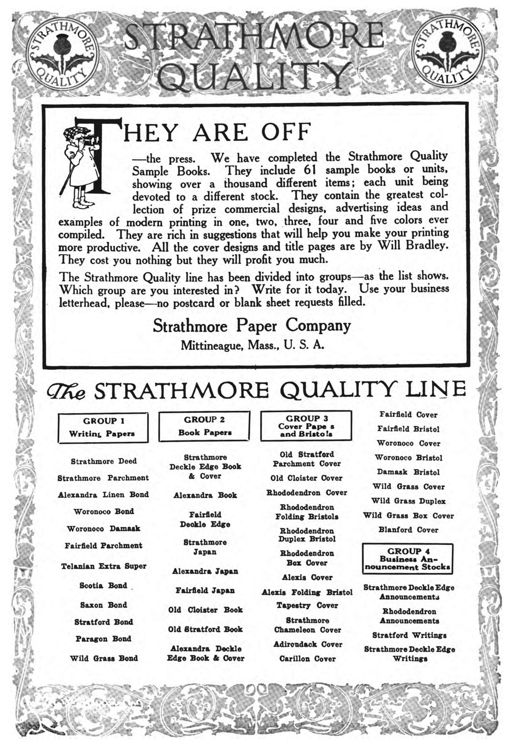 Strathmore Quality advertisement excerpted from Advertising & Selling (November 1912), p. 93.