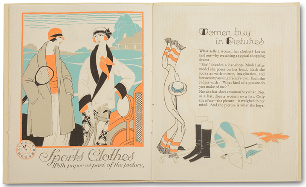 Spread from Originations by Fashion (Strathmore Paper Co., 1923). Illustrations by Helen Dryden and lettering by Gustav Jensen. Photograph by Vincent Trinacria.