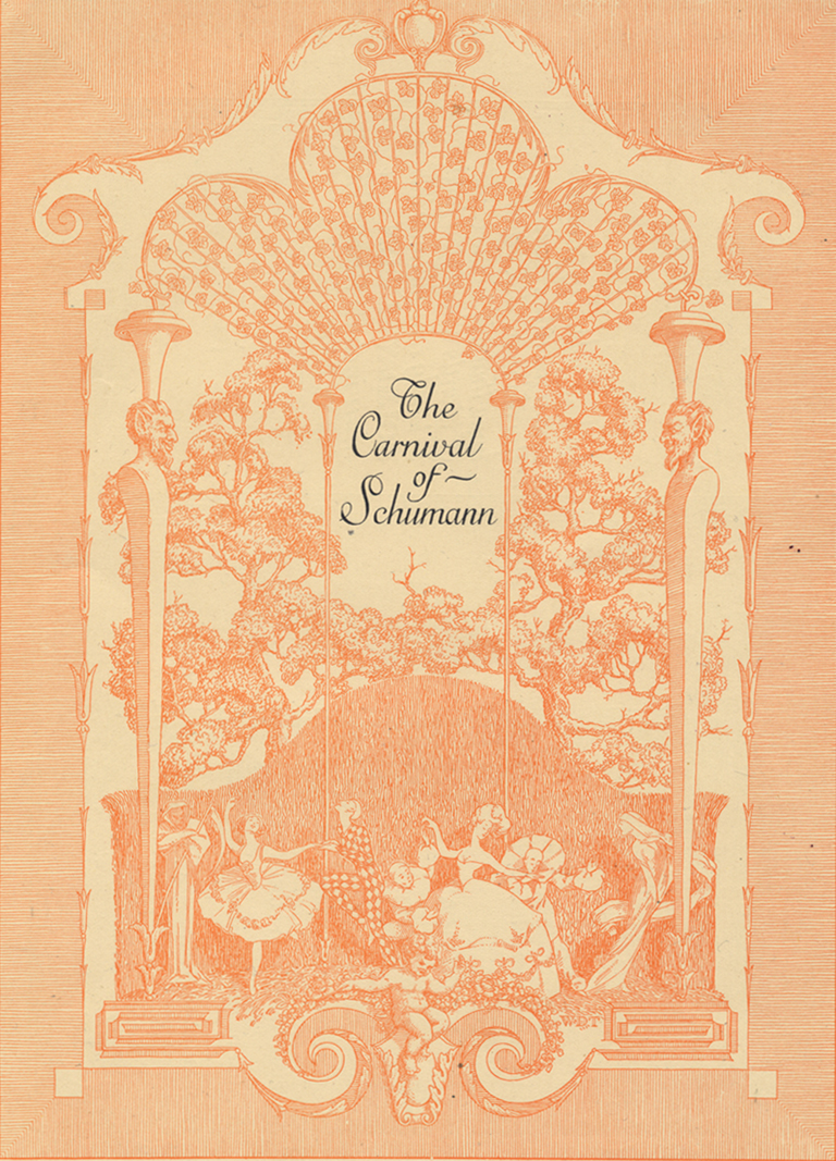 """The Carnival of Schumann""  cover design for the Aeolian Company by Walter Dorwin Teague. Reproduced in The Printing Art vol. XXI, no. 1 (March 1913)."