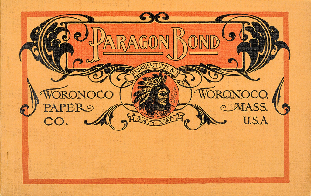 Paragon Bond sample book (Woronoco Paper Co., c1907). Photograph by Vincent Trinacria.