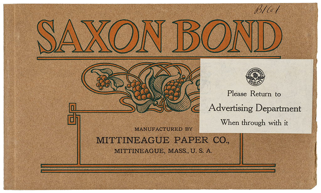Sample book for Saxon Bond from Mittineague Paper Co. (1904). Designer unknown. Photograph by Vincent Trinacria.