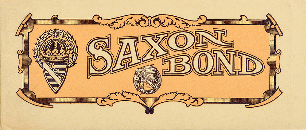 Sample book for Saxon Bond from Woronoco Paper Co. (1906). Designer unknown. Photograph by Vincent Trinacria.