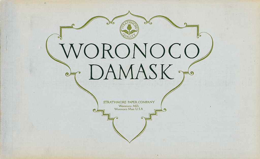 Woronoco Damask sample book (Strathmore Paper Co., 1912). Cover design by Will Bradley. Photograph by Vincent Trinacria.