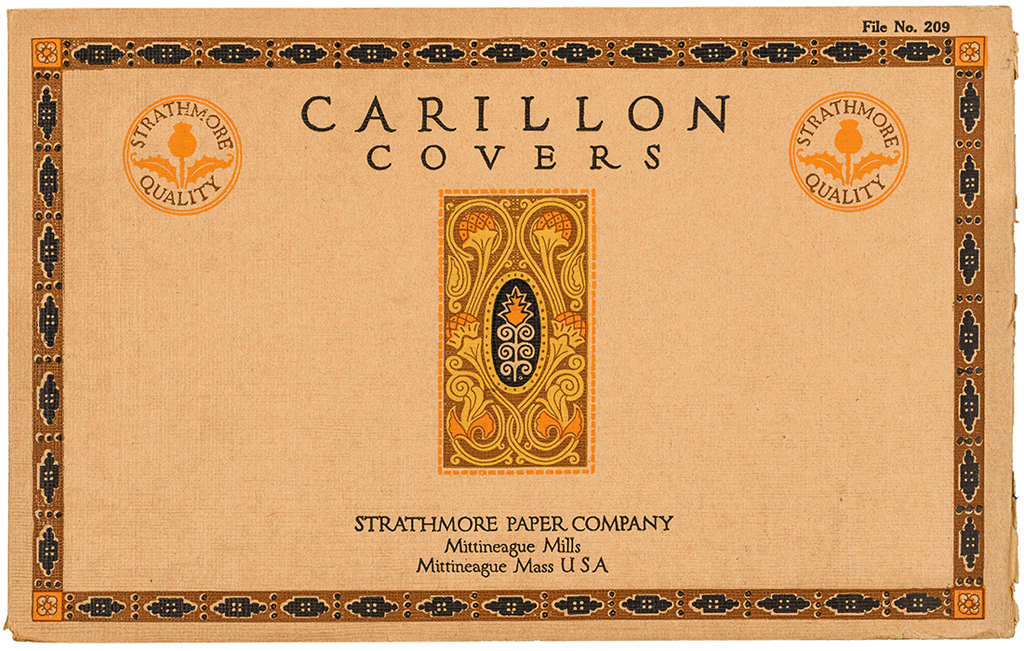 Carillon Covers sample book (Strathmore Paper Co., 1912). Design by Will Bradley.