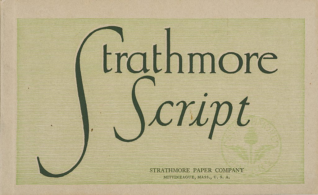 Strathmore Script sample book (Strathmore Paper Co., 1912). Cover design by Will Bradley. Photograph by Vincent Trinacria.