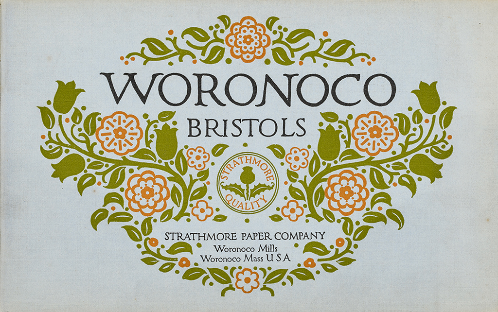 Woronoco Bristols sample book (Strathmore Paper Co., 1912). Cover design by Will Bradley. Photograph by Vincent Trinacria.