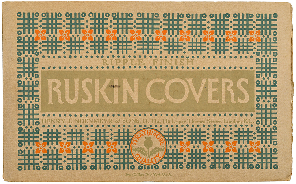 Ruskin Covers sample book (Strathmore Paper Co., 1912). Cover design by Will Bradley. Photograph by Vincent Trinacria.