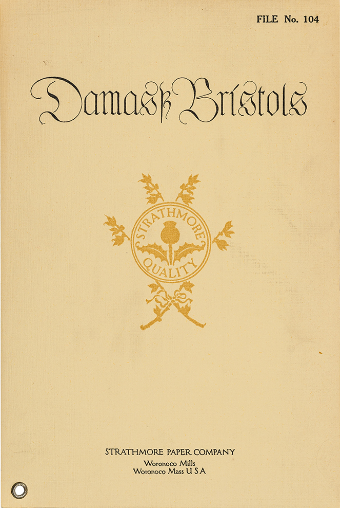 "Damask Bristols sample book cover (Strathmore Paper Co., 1912). Cover design by Will Bradley. (Damask is mistakenly spelled ""Damastz"" as Bradley mistook a tz ligature for a k in fraktur.) Photograph by Vincent Trinacria."
