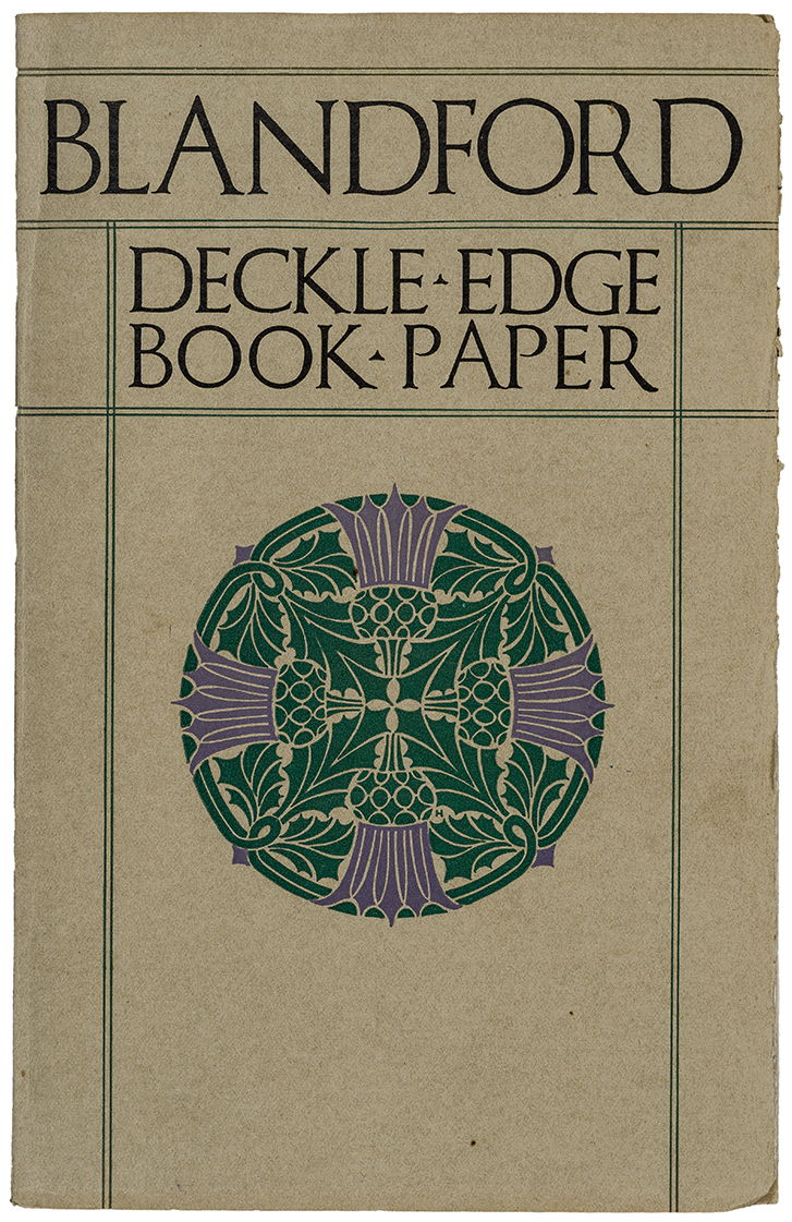 Blandford Deckle-Edge Book-Paper sample book (1918). Cover design by T.B. Hapgood. Photograph by Vincent Trinacria.