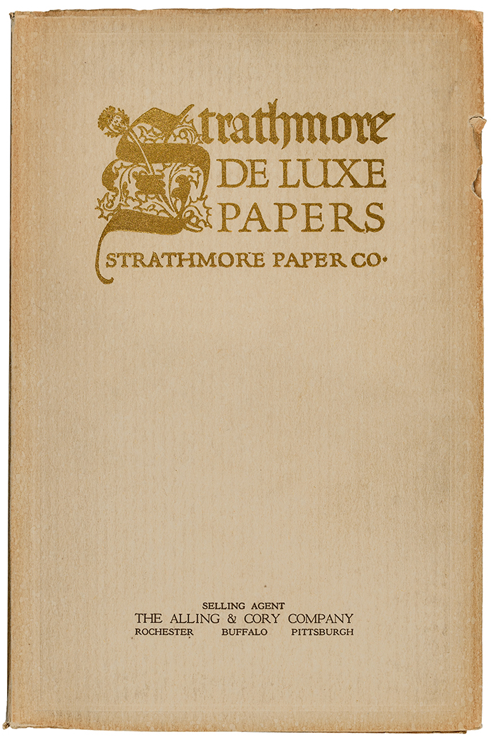 Strathmore De Luxe Papers sample book (Strathmore Paper Co., 1913). Cover design by Frederic W. Goudy. Photograph by Vincent Trinacria.