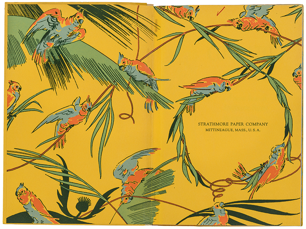 Cockatoo sample book endpapers (Strathmore Paper Co., 1927). Illustration probably by Edward A. Wilson. Photograph by Vincent Trinacria.