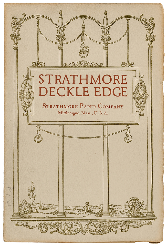 Strathmore Deckle Edge sample book (Strathmore Paper Co., 1923). Design by Walter Dorwin Teague.